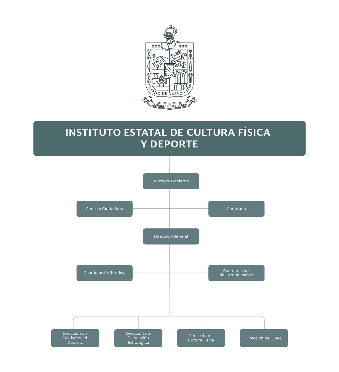 Organigrama del Instituto Estatal de Cultura Física y Deporte (INDE)