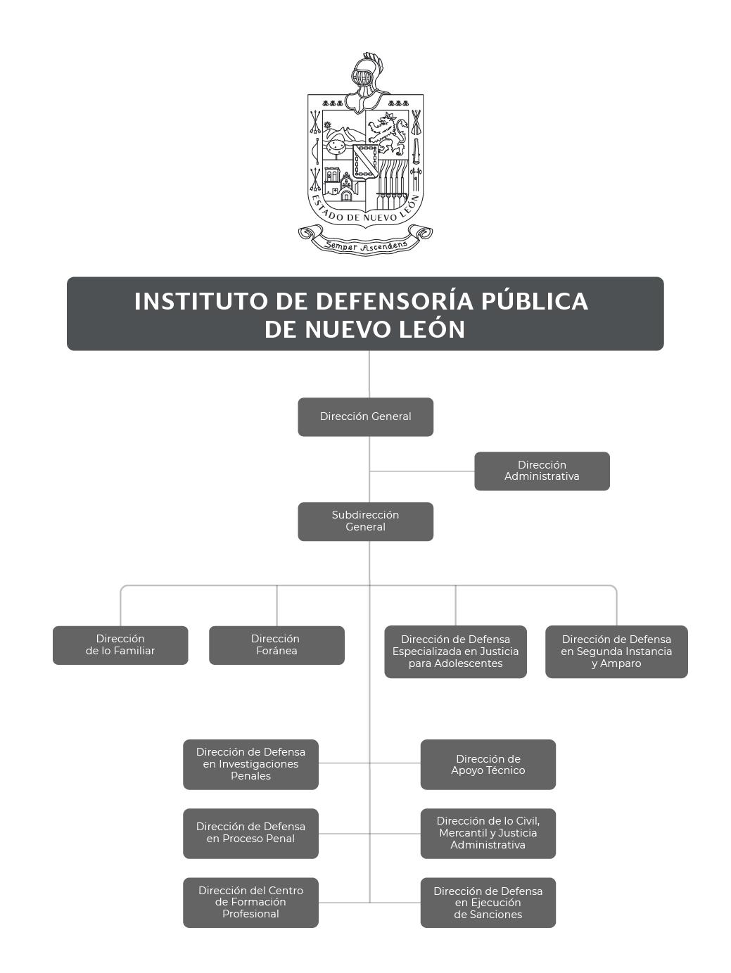 Organigrama del Instituto de Defensoría Pública de Nuevo León