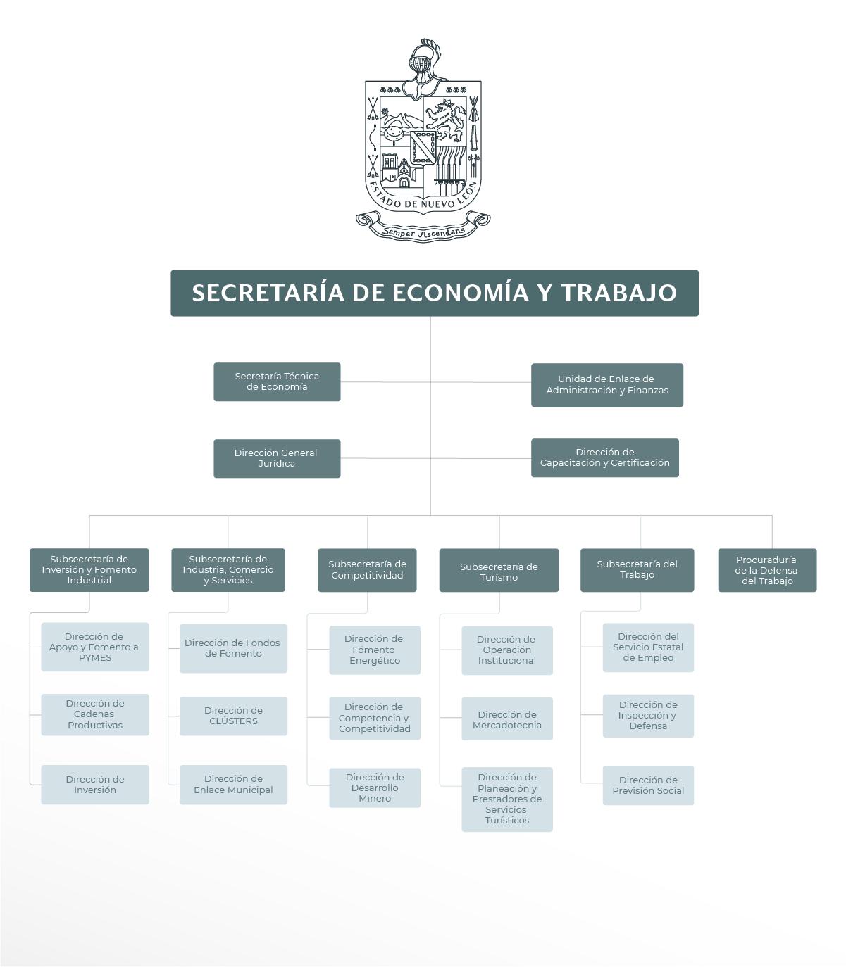 Organigrama de la Secretaría de Economía y Trabajo