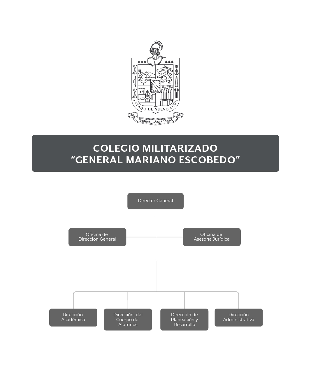 """Organigrama del Colegio Militarizado """"Gral. Mariano Escobedo"""""""