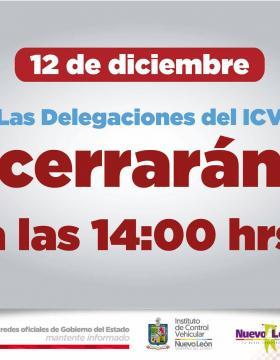 Horario en delegaciones del ICV el día 12 de diciembre de 2017