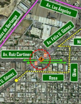 Alternativas viales por cierre total de Félix U. Gómez en su cruce con Ruiz Cortines