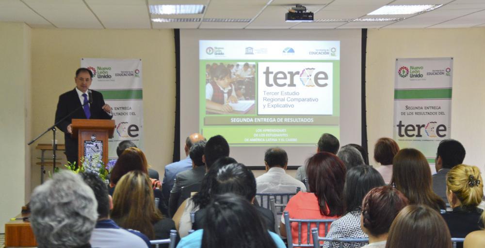 Recibe Nuevo León resultados del Terce destacando en los primeros lugares en materias como matemáticas, ciencias y lenguaje.